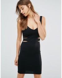 Женское черное облегающее платье с вырезом от Oh My Love