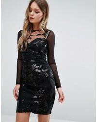 Женское черное облегающее платье с пайетками от Lipsy