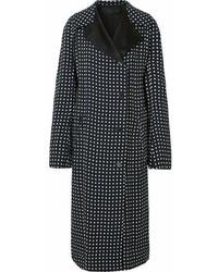 Черное пальто в горошек