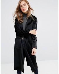 Женское черное пальто дастер от Helene Berman