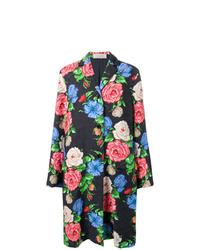 Женское черное пальто из парчи с цветочным принтом от Nina Ricci