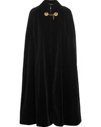 Женское черное пальто-накидка с украшением от Saint Laurent
