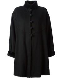 Женское черное пальто-накидка