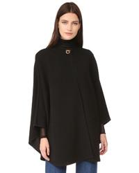 Черное пальто-накидка от Salvatore Ferragamo