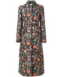Черное пальто с цветочным принтом