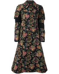 Женское черное пальто с цветочным принтом от Comme des Garcons