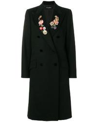 Женское черное пальто с цветочным принтом от Dolce & Gabbana