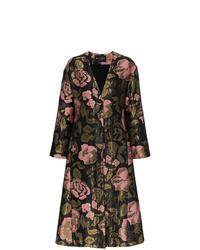 Женское черное пальто с цветочным принтом от Etro