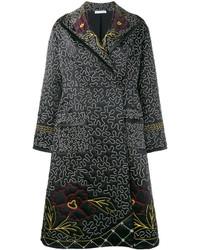 Женское черное пальто с цветочным принтом от J.W.Anderson