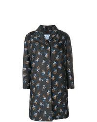 Женское черное пальто с цветочным принтом от Prada Vintage