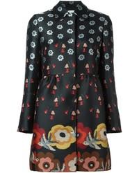 Женское черное пальто с цветочным принтом от RED Valentino