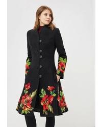 Женское черное пальто с цветочным принтом от Yukostyle
