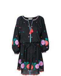 Черное платье-крестьянка с вышивкой