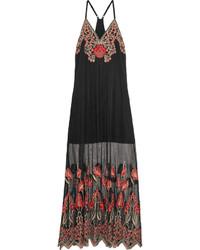 Черное платье-макси с вышивкой