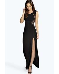 Черное платье-макси с разрезом