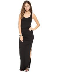 Женское черное платье-макси с разрезом от Three Dots
