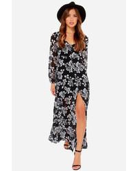 Черное платье-макси с цветочным принтом