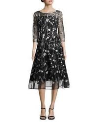 Черное платье-миди в сеточку