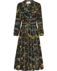 Черное платье-миди с принтом