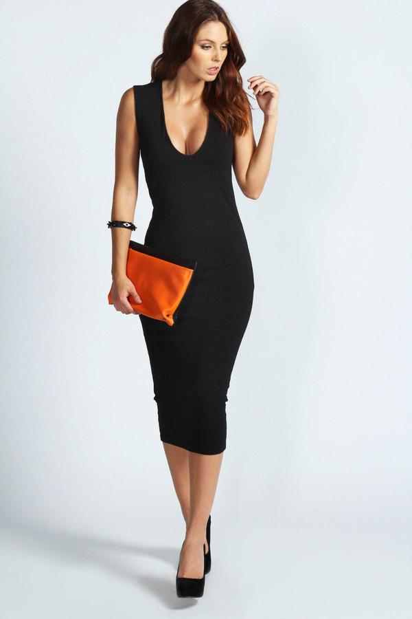 Платье миди черное фото
