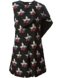 Черное платье прямого кроя с принтом от Fendi