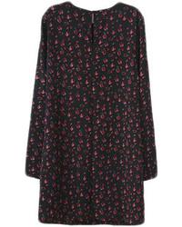 Черное платье прямого кроя с цветочным принтом