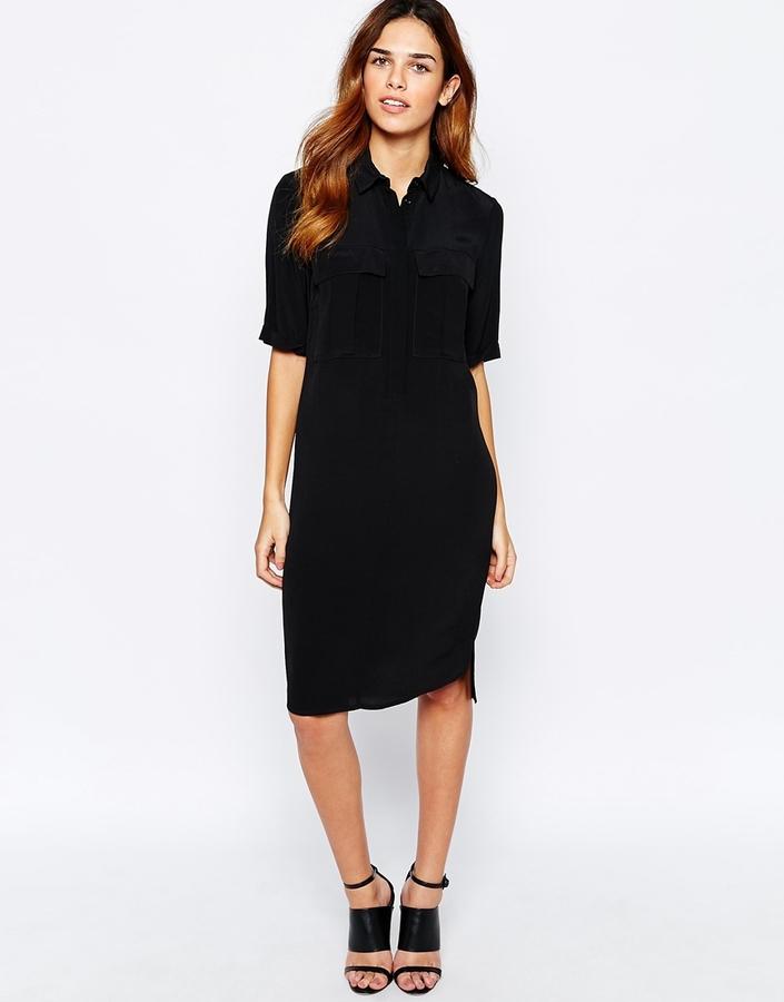 Платье рубашка черное купить