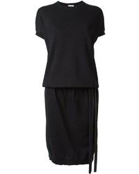 Женское черное платье-свитер от Brunello Cucinelli