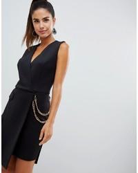 Черное платье-смокинг с украшением от Forever Unique