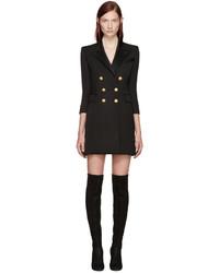 Черное платье-смокинг от Balmain