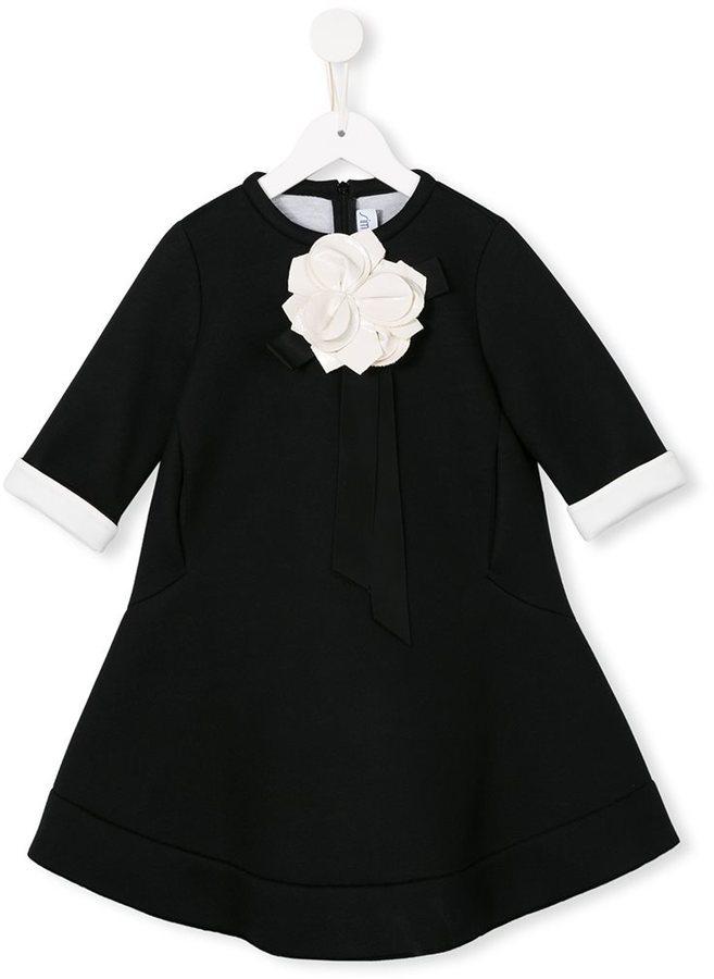Детское черное платье с цветочным принтом для девочке от Simonetta