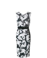 Черное платье-футляр с пайетками с вышивкой от Marco Bologna