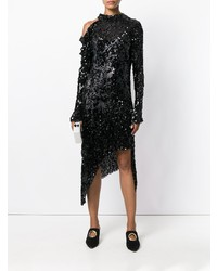 Черное платье-футляр с пайетками от Magda Butrym