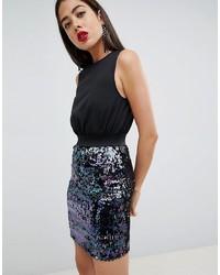 Черное платье-футляр с пайетками от AX Paris