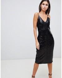 Черное платье-футляр с пайетками от Club L