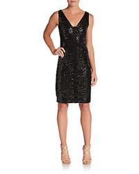 Женское черное платье-футляр с пайетками от David Meister