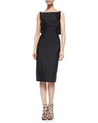 Черное сатиновое платье-футляр