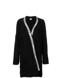 Черное флисовое пальто