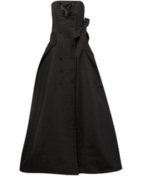 Черное шелковое вечернее платье от Carolina Herrera