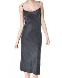 Черное шелковое платье-комбинация