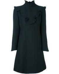 Черное шелковое платье прямого кроя с рюшами от Fendi