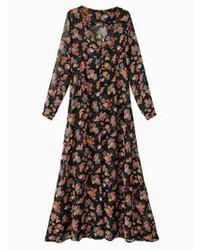 Черное шифоновое платье-макси с цветочным принтом