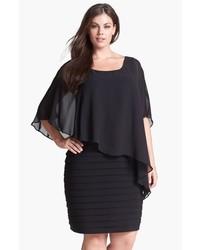 Черное шифоновое платье-футляр