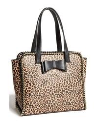 Черно-бежевая кожаная большая сумка с леопардовым принтом