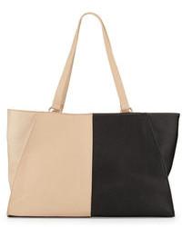 Черно-бежевая кожаная большая сумка