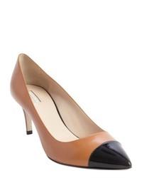 Черно-бежевые кожаные туфли