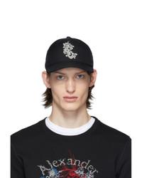 Мужская черно-белая бейсболка с принтом от Alexander McQueen