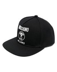 Мужская черно-белая бейсболка с принтом от Moschino