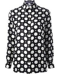 Черно-белая блуза на пуговицах в горошек