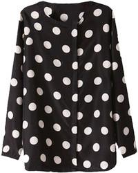Черно-белая блузка с длинным рукавом в горошек